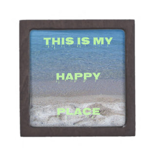 Lime Green Happy Place Phrase On Clear Lake Keepsake Box