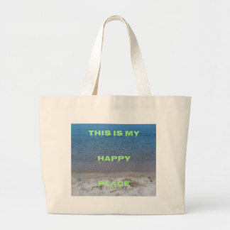 Lime Green Happy Place Phrase On Clear Lake Large Tote Bag