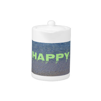 Lime Green Happy Place Phrase On Clear Lake Teapot