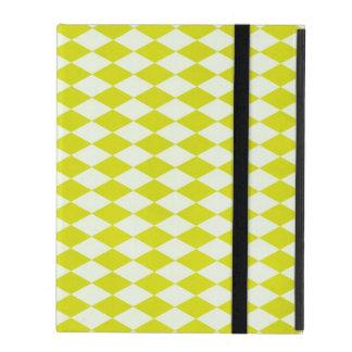 Lime Green Harlequin Argyle Diamond Print Bright iPad Folio Case