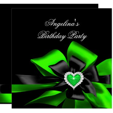Valentines Themed Lime Green Heart Black Bow Image Birthday Party Card