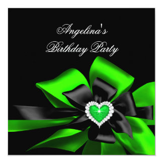 Lime Green Heart Black Bow Image Birthday Party Card