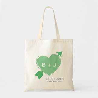 Lime Green Heart Illustration Tote Bag