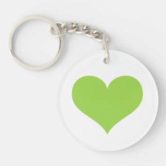 Lime green heart love or Valentines day Keychain