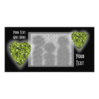Lime Green Heart. Patterned Heart Design. Card