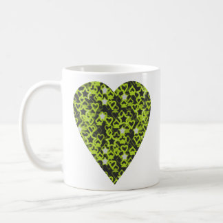 Lime Green Heart. Patterned Heart Design. Coffee Mug