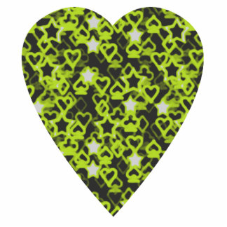 Lime Green Heart. Patterned Heart Design. Cutout