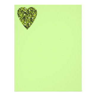 Lime Green Heart. Patterned Heart Design. Letterhead