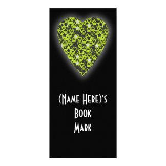 Lime Green Heart. Patterned Heart Design. Rack Card
