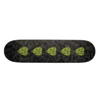 Lime Green Heart. Patterned Heart Design. Skateboard