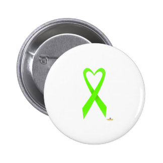 Lime Green Heart Shaped Awareness Ribbon Button