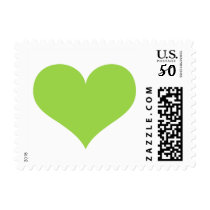 Lime green heart wedding, love or Valentines day Postage