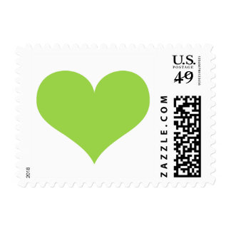 Lime green heart wedding, love or Valentines day Postage Stamps