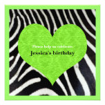 Lime Green Heart with Zebra Print Party Invitation