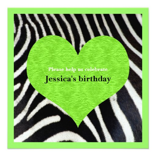 Lime green heart with zebra print party invitation 5 25 quot square