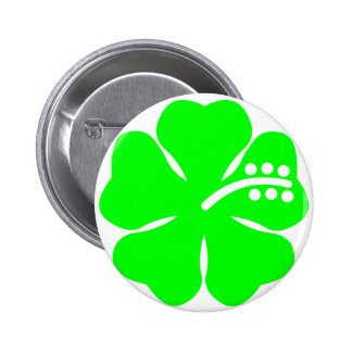 Lime green hibiscus flower pinback button