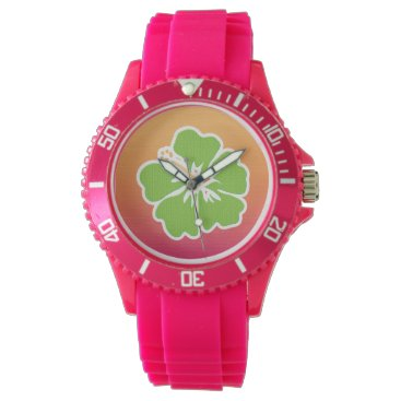 Beach Themed Lime Green Hibiscus Ombre Wristwatch