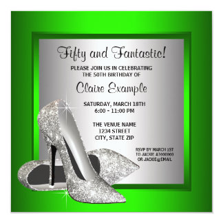 Lime Green High Heels Womans Birthday Party 5.25x5.25 Square Paper Invitation Card