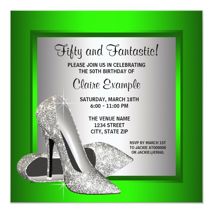 personalised paper card party invites SHOES STILETTO HEELS 40th 50th 60th