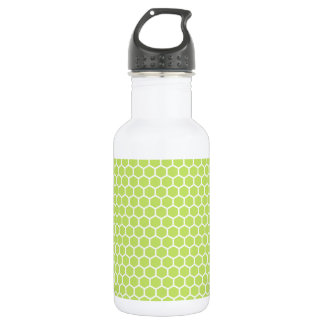 Lime Green Honeycomb Pattern 18oz Water Bottle