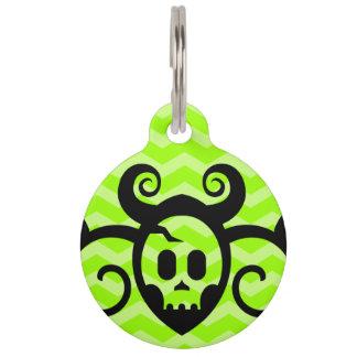 Lime Green Horned Skull Pet Name Tag
