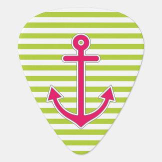 Lime Green Hot Pink Anchor Nautical Guitar Pick