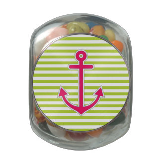Lime Green Hot Pink Anchor Nautical Jelly Belly Candy Jar