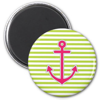 Lime Green Hot Pink Anchor Nautical Magnet