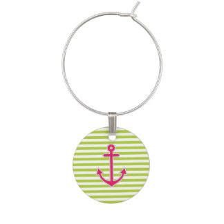 Lime Green Hot Pink Anchor Nautical Wine Charm