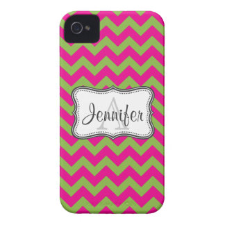 Lime Green Hot Pink Chevron Monogram iPhone 4 4s iPhone 4 Cover