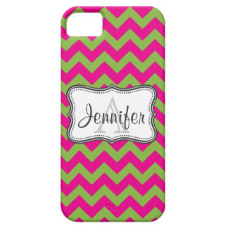 Lime Green & Hot Pink Chevron Monogram iPhone 5 iPhone 5 Cover