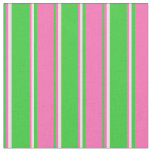 [ Thumbnail: Lime Green, Hot Pink & Mint Cream Colored Stripes Fabric ]