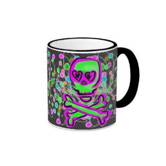 Lime Green Hot pInk Skull Colorful Cosmos Ringer Mug