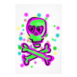 Lime Green Hot pInk Skull Colorful Cosmos Stationery Design