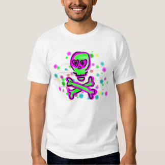 Lime Green Hot pInk Skull Colorful Cosmos Tee Shirt