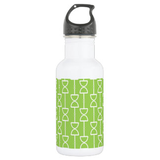 Lime Green Hourglass Pattern Water Bottle