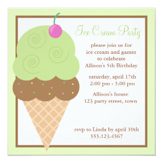 Lime Green Ice Cream Cone Birthday Party Card