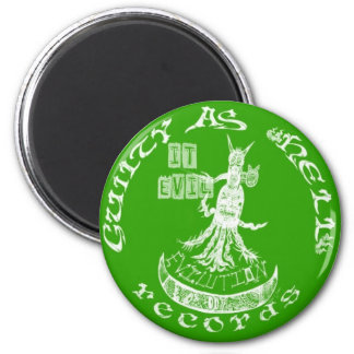 "LIME GREEN  ""It Evil"" 2 Inch Round Magnet"