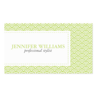 Lime Green Japanese Seigaiha Pattern Business Card Template