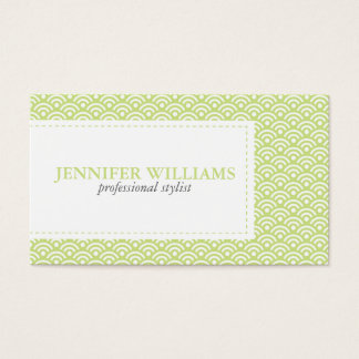 Lime Green Japanese Seigaiha Pattern Business Card