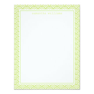 Lime Green Japanese Seigaiha Pattern Card