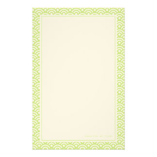 Lime Green Japanese Seigaiha Pattern Stationery Paper