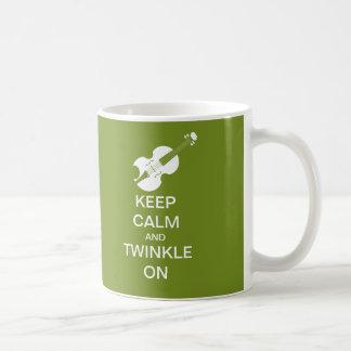 Lime Green Keep Calm Twinkle On Violin Coffee Mug