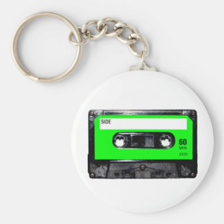 Lime Green Label Cassette Keychain