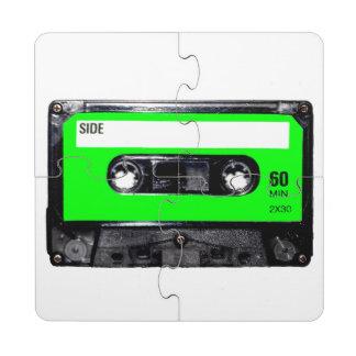Lime Green Label Cassette Puzzle Coaster