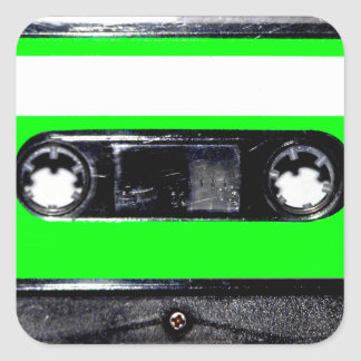 Lime Green Label Cassette Sticker