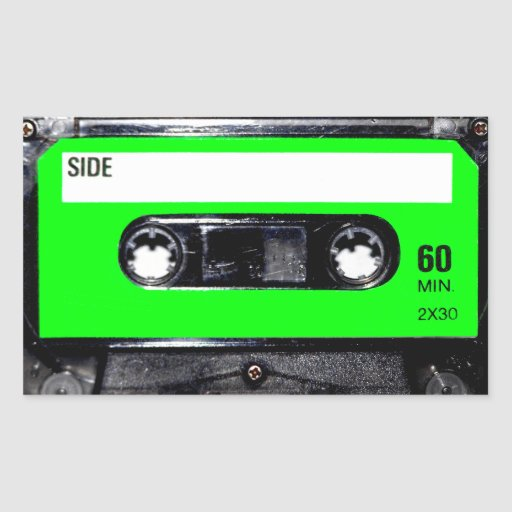 Lime Green Label Cassette Rectangle Stickers