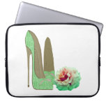 Lime Green Lace Stiletto and Rose Electronic Case Computer Sleeves