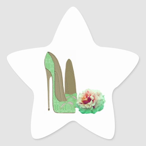 Lime Green Lace Stiletto Shoes and Rose Art Star Sticker