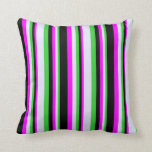 [ Thumbnail: Lime Green, Lavender, Fuchsia, and Black Colored Throw Pillow ]